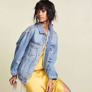 Free People Studded Denim Trucker Jacket NWT